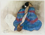 Woman in Blue Striped Blanket