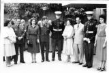 Honduran dignitaries and Ambassador Mari-Luci Jaramillo, along with U.S. Marines at the Fourth of...