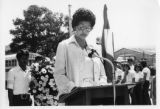 Ambassador Mari-Luci Jaramillo speaking at a laying of a wreath for Francisco Morazán