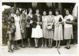 "Ambassador Mari-Luci Jaramillo surrounded by ""Secretarias Bilingues Instituto Evangelico"" in..."