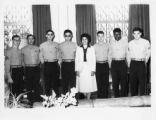 Ambassador Mari-Luci Jaramillo poses with the United States Marines in the Embassy in Tegucigalpa,...