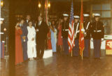 Onlookers and Marines at attention before the presentation of the flags at the United States...