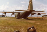 Empty military cargo plane unloaded of hurricane relief supplies