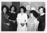 Ambassador Mari-Luci Jaramillo posing with four professional women who were her guests at the...