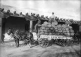 Pinon nut shipment from Gormley's General Store in front of the Palace of the Governors, Santa Fe,...