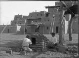 Building horno, Indian Village in Painted Desert Exhibit, 1915 San Diego Exposition, California