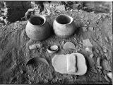 Pottery, axes, bones, metate, mano and baskets found at Mug House, Mesa Verde National Park,...