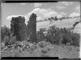 Round tower near entrance, East end, South cave, McElmo Canyon, Colorado