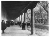 Band concert under the portal looking East through Palace of the Governors portal, Santa Fe, New...