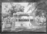Copy of wash drawing by Carlos Vierra for proposed Plaza bandstand, Santa Fe, New Mexico