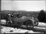 40 horsepower Case automobile on Sena Circle Drive, Alice and Virginia Morley in back seat with...