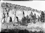 Cliff and cliff houses, Rito de los Frijoles, New Mexico