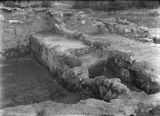 Excavated rooms on northside of Tyuonyi ruin, Rito de los Frijoles, New Mexico