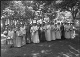 Group of women and girls at unidentified event on Plaza, Santa Fe, New Mexico
