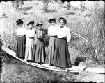 New Mexico Normal (Highlands) University students standing on board planks near El Porvenir, New...