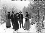 New Mexico Normal (Highlands) University students in snow, El Porvenir, New Mexico