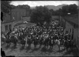 De Vargas Pageant group on horseback, Palace of the Governors courtyard, Santa Fe, New Mexico
