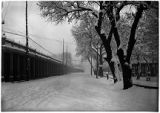 Palace Avenue at the Plaza in winter, Santa Fe, New Mexico