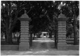Gates to Saint Vincents Hospital park on Cathedral Place, Santa Fe, New Mexico