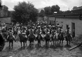 Group of riders in courtyard of Palace of the Governors, De Vargas Pageant, Santa Fe, New Mexico