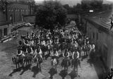 De Vargas Pageant riders on horseback, Palace of the Governors courtyard, Santa Fe, New Mexico