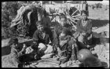 Navajo women and children in camp, New Mexico