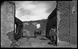Ruins of adobe buildings at Santo Domingo Pueblo, New Mexico
