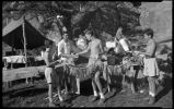 """A Good Catch"", Los Alamos Ranch School students in camp, Los Alamos, New Mexico"