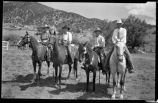 Riders near Santa Fe, New Mexico including Margaret McKittrick, second from left