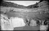 Construction of Nichols or Four-Mile Dam and Reservoir near Santa Fe, New Mexico, sluicing...