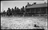 Riders in front of lodge, Los Alamos Ranch School, Los Alamos, New Mexico