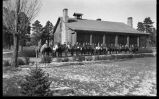 Students on horseback in front of lodge, Los Alamos Ranch School, Los Alamos, New Mexico