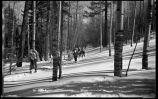 Los Alamos Ranch School students skiing near Los Alamos, New Mexico