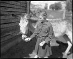 Young girl with donkey, New Mexico