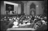 Audience in the Lensic Theater for a free three-day cooking school, Santa Fe, New Mexico, July 14,...