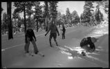 Students from Los Alamos Ranch School skiing, Los Alamos, New Mexico