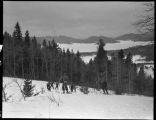 Students skiing, Los Alamos Ranch School, Los Alamos, New Mexico