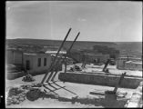 Rooftop view of Acoma Pueblo showing ceremonial ladder, New Mexico