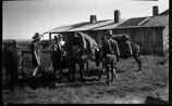 Students with horses, Los Alamos Ranch School, Los Alamos, New Mexico