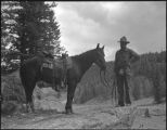 Student and his horse, Los Alamos Ranch School, Los Alamos, New Mexico