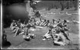 Around the cooking fire, Los Alamos Ranch School, Los Alamos, New Mexico