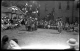 Saint Catherine Indian School dancers behind Santa Fe Public Library, Washington Avenue, Santa Fe,...