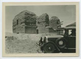 Automobile in front of Pecos Mission ruins, New Mexico