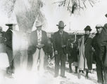 Governor Agapito Naranjo, center with cane, Pasqual Baca on left and Joseph Tafoya, Santa Clara...