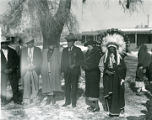 Governor Agapito Naranjo with cane and Geronimo Tafoya in headdress, Santa Clara Pueblo, New Mexico