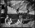 Los Alamos Ranch School students cooking in camp on Sawyer Mesa near Los Alamos, New Mexico