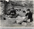 Navajo Family Making Yarn