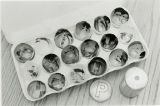 Bromide egg shell prints made inside eggs with pepper shaker pinhole camera
