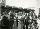 Goddard Exhibit Dedication, Esther Goddard, Werner Von Braun, Hugh Milton, and others to cut...