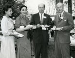 Goddard Exhibit Dedication - Dr. & Mrs. Richard P. Waggoner and Unknown - 1959